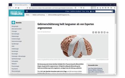 Medical Tribune: Gehirnerschütterung heilt langsamer als von Experten angenommen