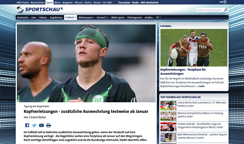 ARD Sportschau: Kopfverletzungen