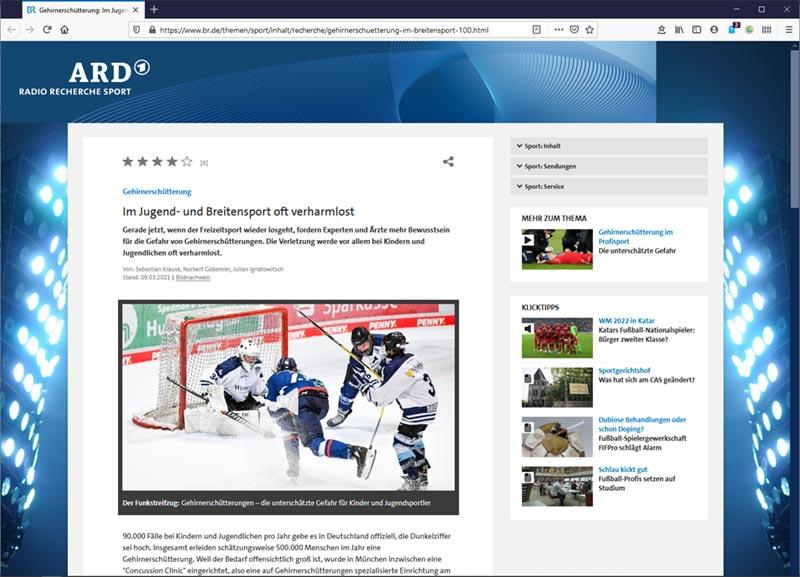 ARD Radio Recherche: Gehirnerschütterung – Im Jugend- und Breitensport oft verharmlost